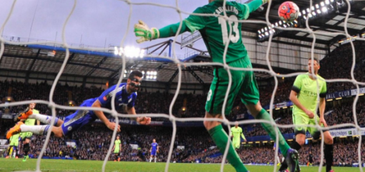 Diego Costa scores Chelsea's first goal against City