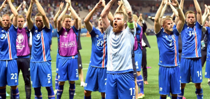 Iceland celebrate out working England